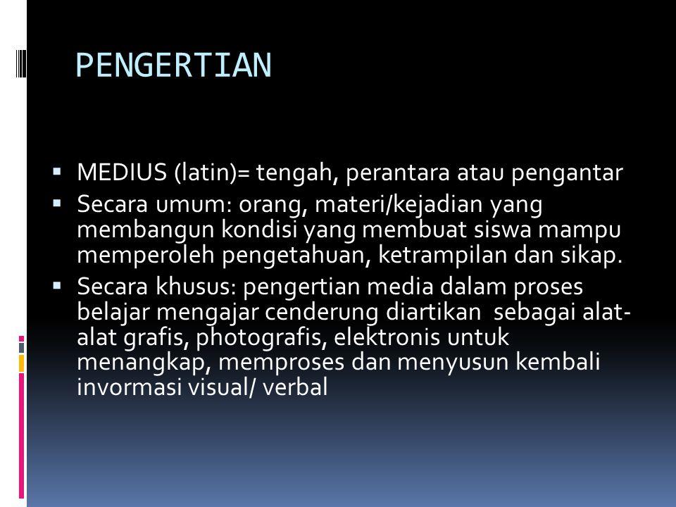 PENGERTIAN  MEDIUS (latin)= tengah, perantara atau pengantar  Secara umum: orang, materi/kejadian yang membangun kondisi yang membuat siswa mampu me