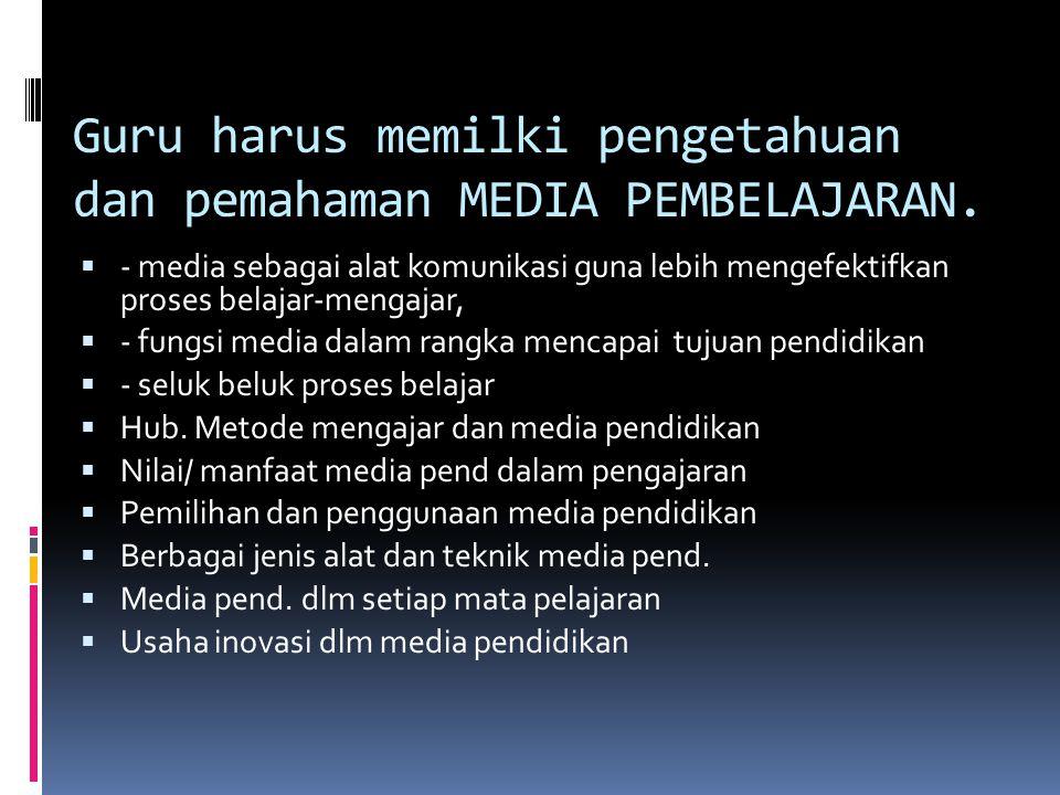 Guru harus memilki pengetahuan dan pemahaman MEDIA PEMBELAJARAN.  - media sebagai alat komunikasi guna lebih mengefektifkan proses belajar-mengajar,