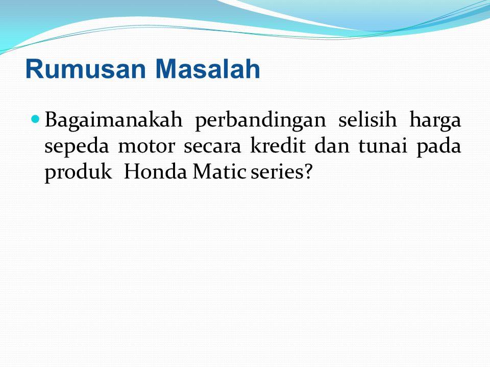 Batasan Masalah Makalah ini hanya membahas tentang perbandingan harga produk Honda Matic Series dan perbandingan harga secara tunai dan kredit.