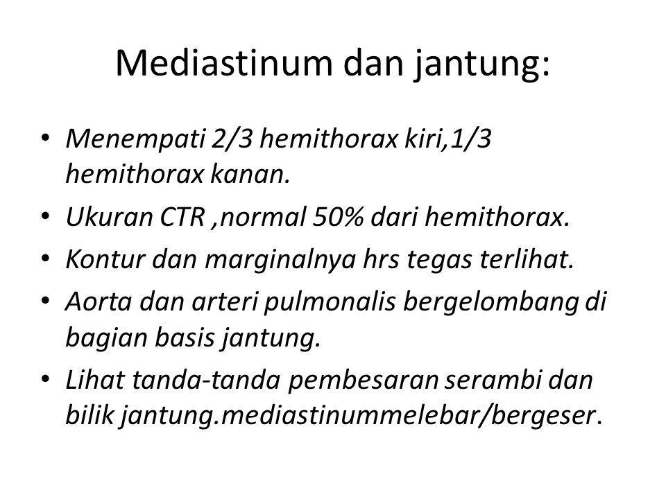 Mediastinum dan jantung: Menempati 2/3 hemithorax kiri,1/3 hemithorax kanan. Ukuran CTR,normal 50% dari hemithorax. Kontur dan marginalnya hrs tegas t