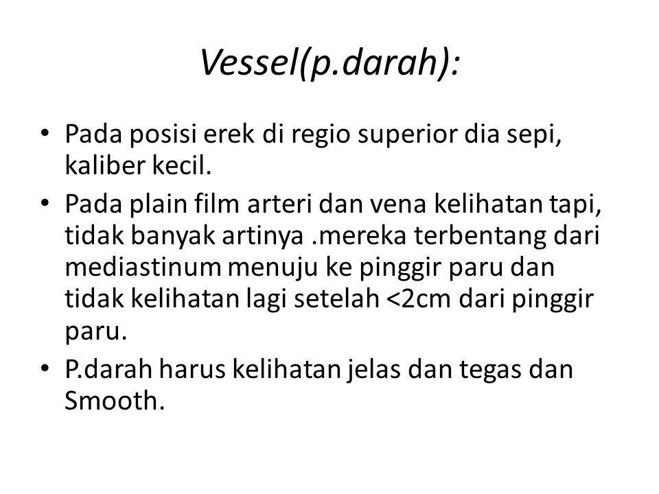 Vessel(p.darah): Pada posisi erek di regio superior dia sepi, kaliber kecil. Pada plain film arteri dan vena kelihatan tapi, tidak banyak artinya.mere