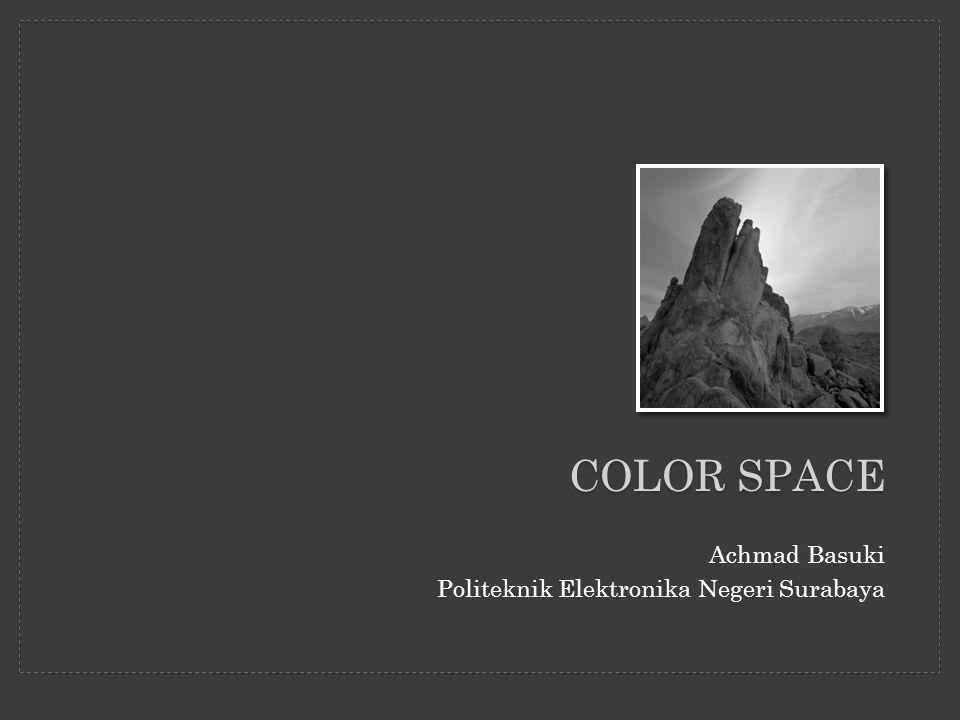 Materi: 1.Konsep Warna 2.Standard Color Space –RGB dan CMYK –HSV –CIE –Lab, Luv, Yuv dan YCrCb 3.Color Gamut 4.Konversi Color Spaces