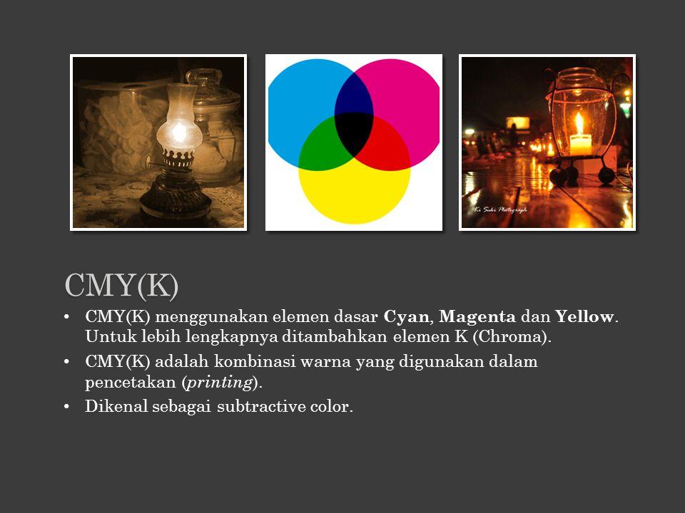 CMY(K) menggunakan elemen dasar Cyan, Magenta dan Yellow. Untuk lebih lengkapnya ditambahkan elemen K (Chroma). CMY(K) adalah kombinasi warna yang dig