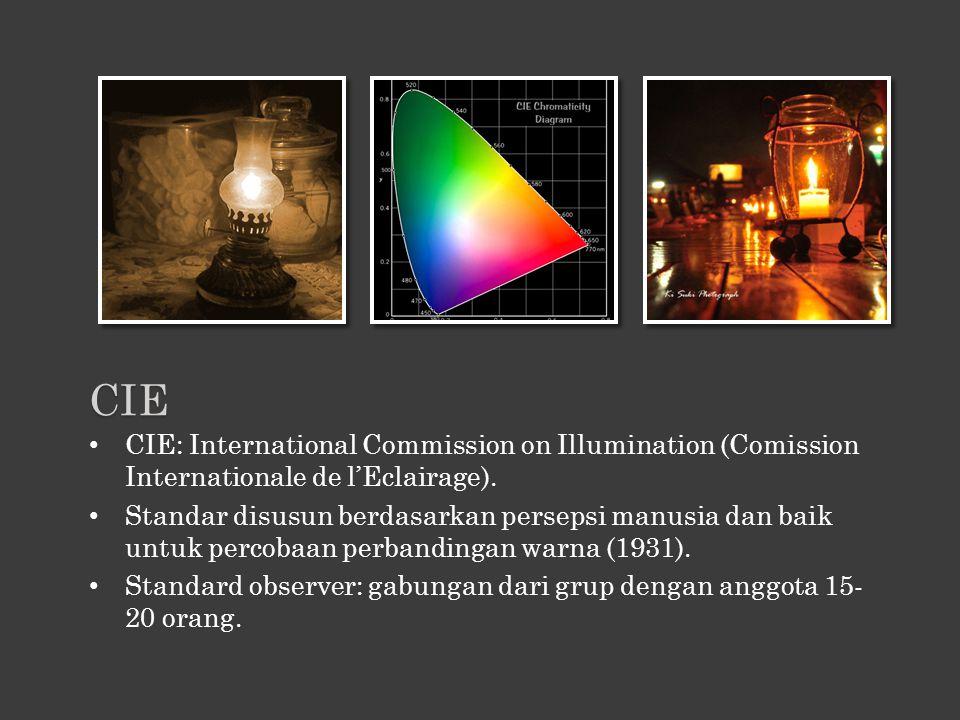 CIE: International Commission on Illumination (Comission Internationale de l'Eclairage). Standar disusun berdasarkan persepsi manusia dan baik untuk p