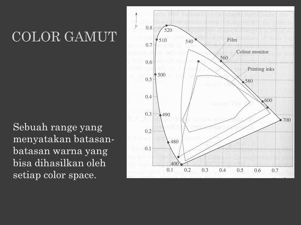 Sebuah range yang menyatakan batasan- batasan warna yang bisa dihasilkan oleh setiap color space. COLOR GAMUT
