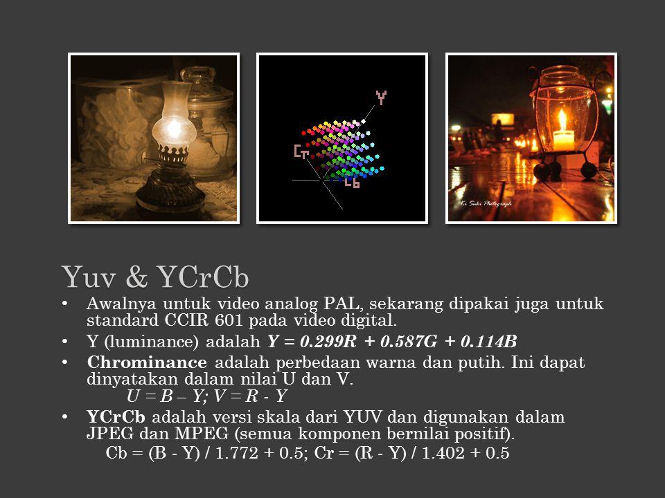 Awalnya untuk video analog PAL, sekarang dipakai juga untuk standard CCIR 601 pada video digital. Y (luminance) adalah Y = 0.299R + 0.587G + 0.114B Ch