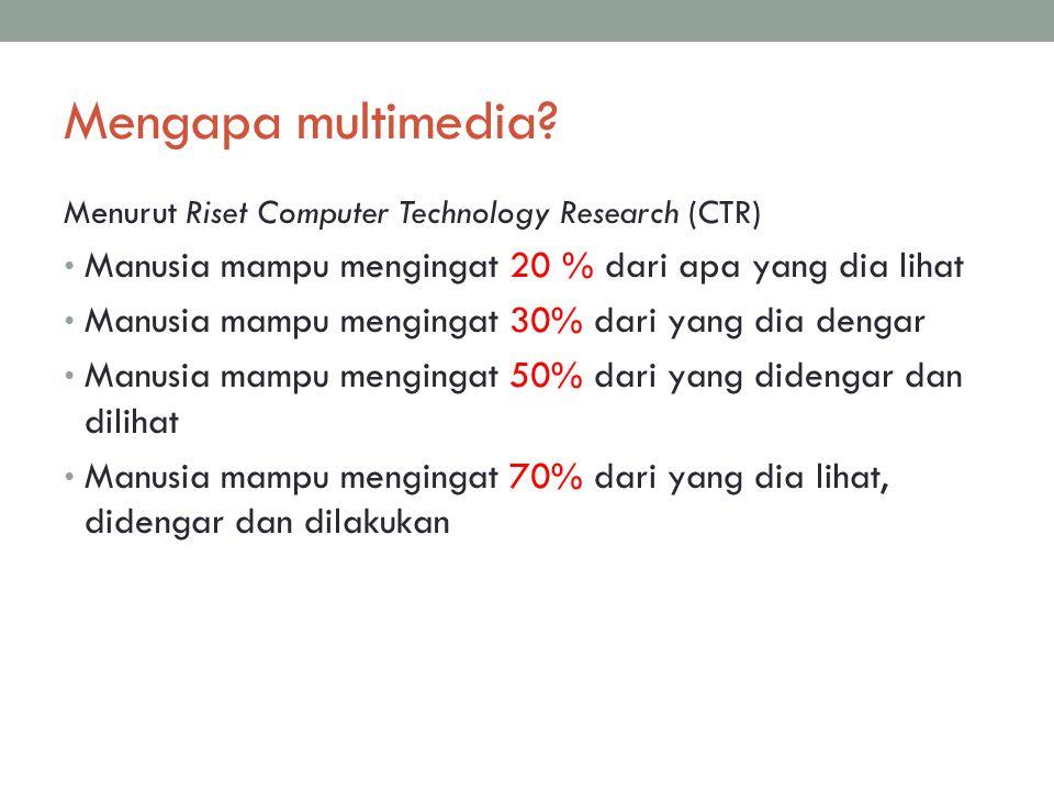 DEFINISI MULTIMEDIA Multi: banyak Media: Sarana berkomunikasi untuk melewatkan informasi.