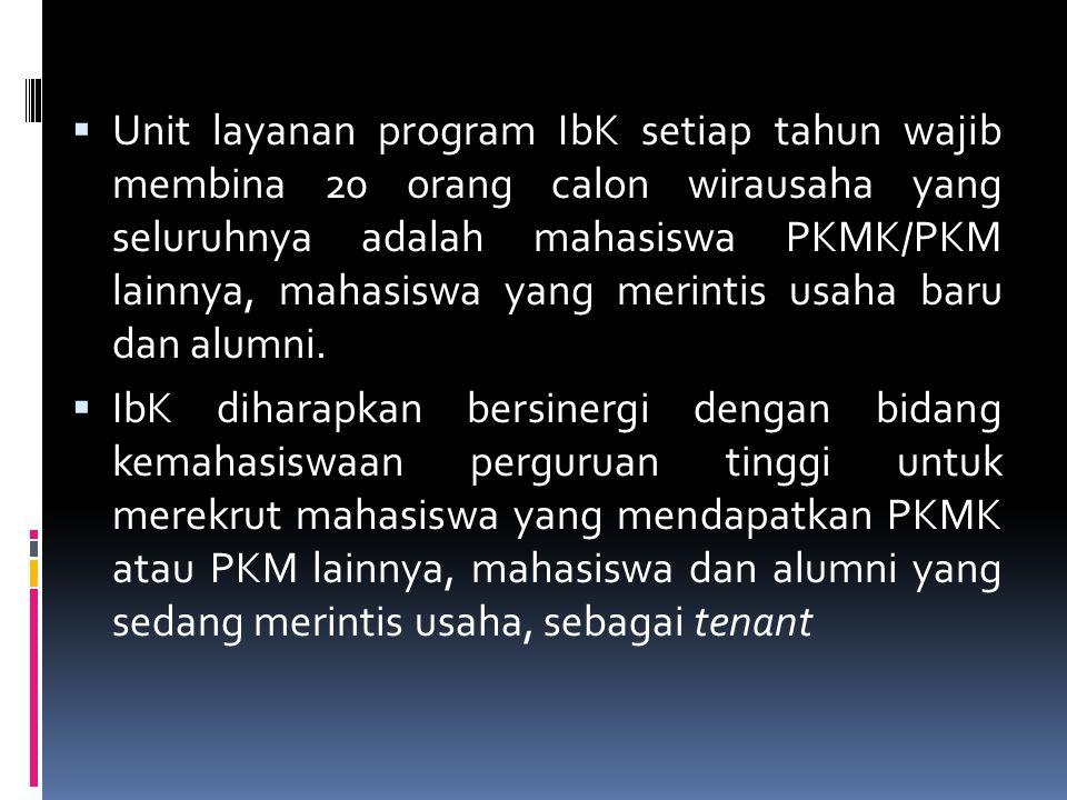  Unit layanan program IbK setiap tahun wajib membina 20 orang calon wirausaha yang seluruhnya adalah mahasiswa PKMK/PKM lainnya, mahasiswa yang merin