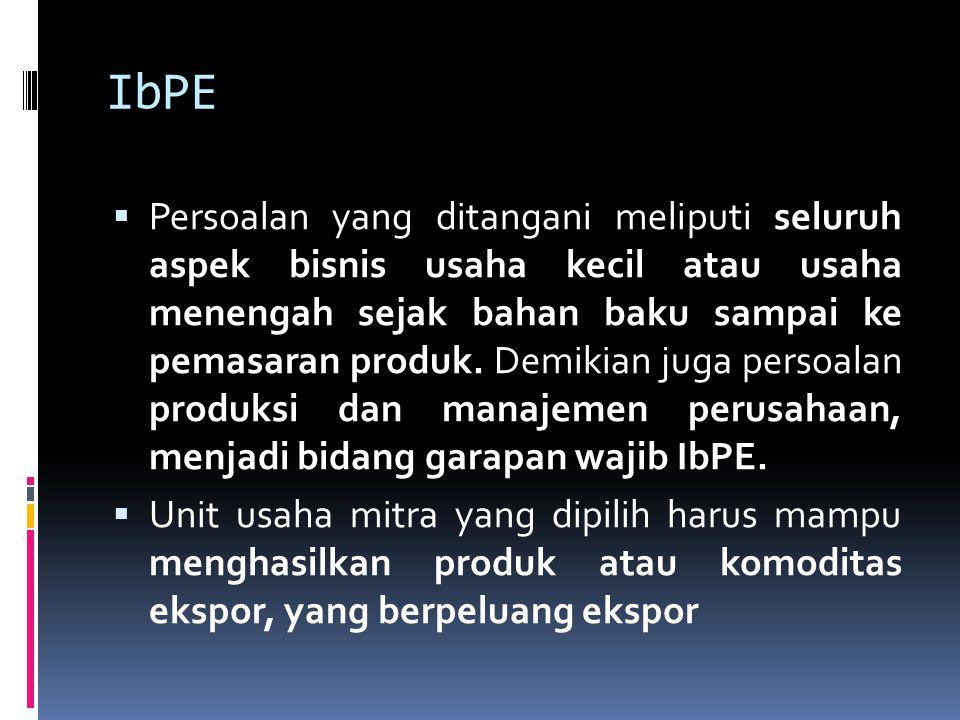 IbPE  Persoalan yang ditangani meliputi seluruh aspek bisnis usaha kecil atau usaha menengah sejak bahan baku sampai ke pemasaran produk. Demikian ju