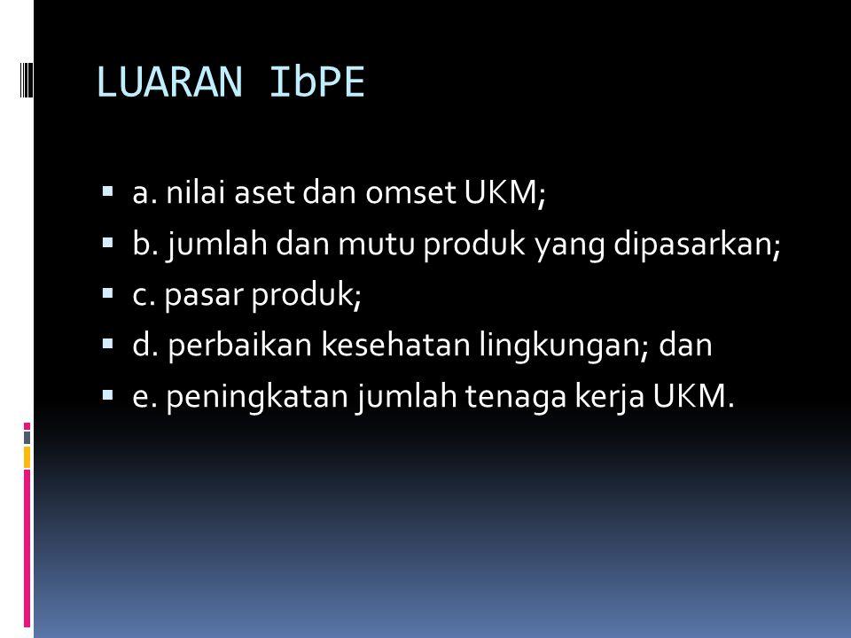 LUARAN IbPE  a. nilai aset dan omset UKM;  b. jumlah dan mutu produk yang dipasarkan;  c. pasar produk;  d. perbaikan kesehatan lingkungan; dan 