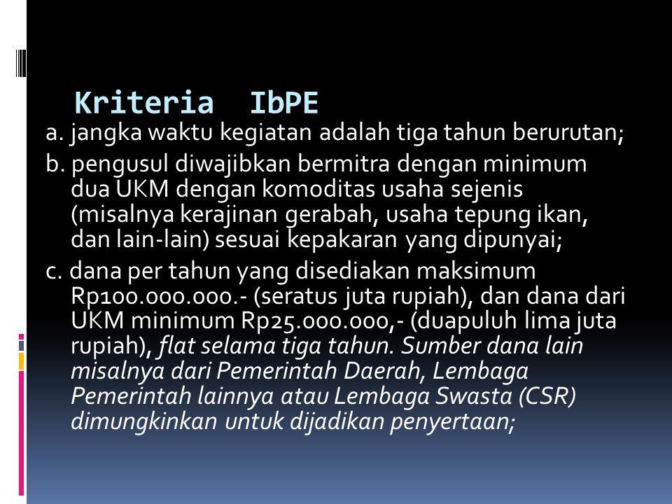 Kriteria IbPE a. jangka waktu kegiatan adalah tiga tahun berurutan; b. pengusul diwajibkan bermitra dengan minimum dua UKM dengan komoditas usaha seje