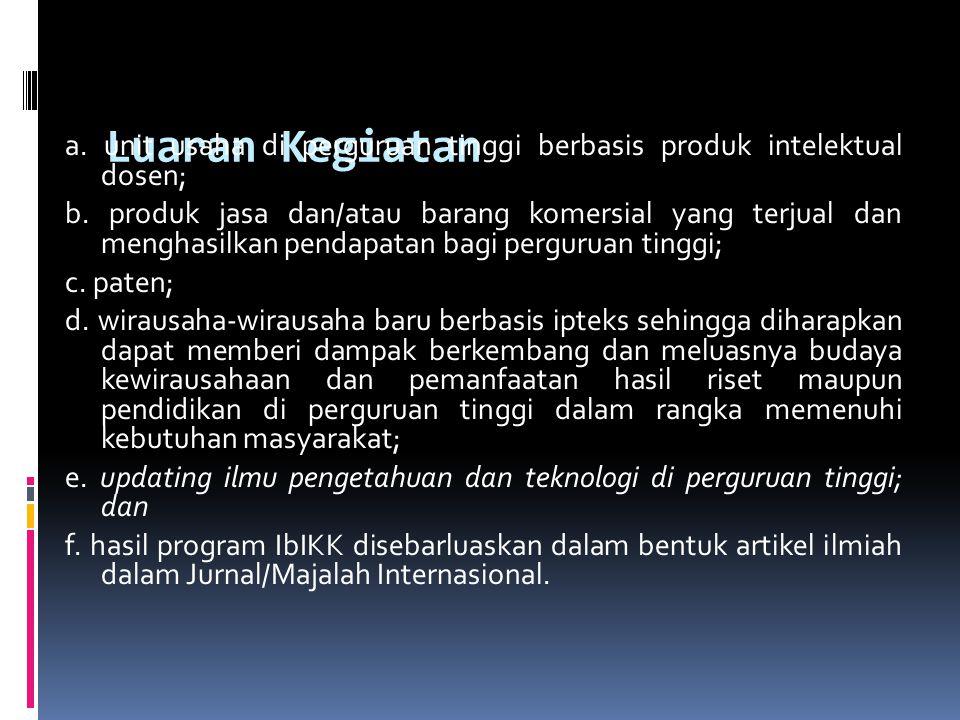 Luaran Kegiatan a. unit usaha di perguruan tinggi berbasis produk intelektual dosen; b. produk jasa dan/atau barang komersial yang terjual dan menghas