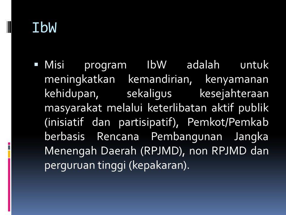 IbW  Misi program IbW adalah untuk meningkatkan kemandirian, kenyamanan kehidupan, sekaligus kesejahteraan masyarakat melalui keterlibatan aktif publ