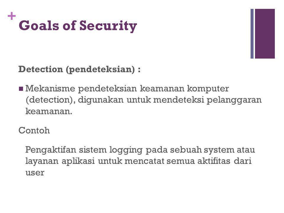 + Goals of Security Detection (pendeteksian) : Mekanisme pendeteksian keamanan komputer (detection), digunakan untuk mendeteksi pelanggaran keamanan.