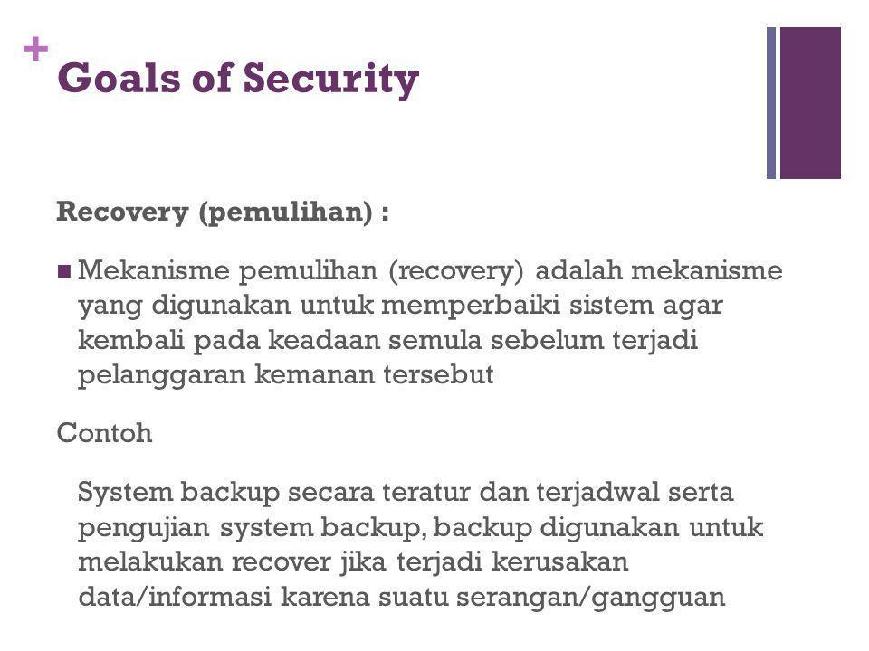 + Goals of Security Recovery (pemulihan) : Mekanisme pemulihan (recovery) adalah mekanisme yang digunakan untuk memperbaiki sistem agar kembali pada k