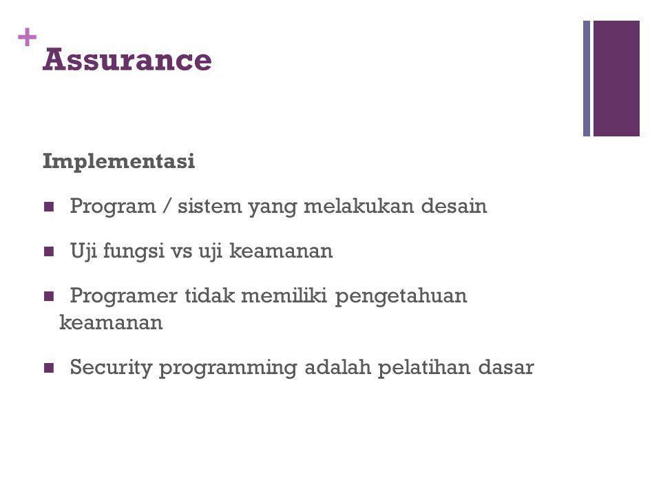 + Assurance Implementasi Program /  sistem yang melakukan desain Uji fungsi vs uji keamanan Programer tidak memiliki pengetahuan keamanan Security p
