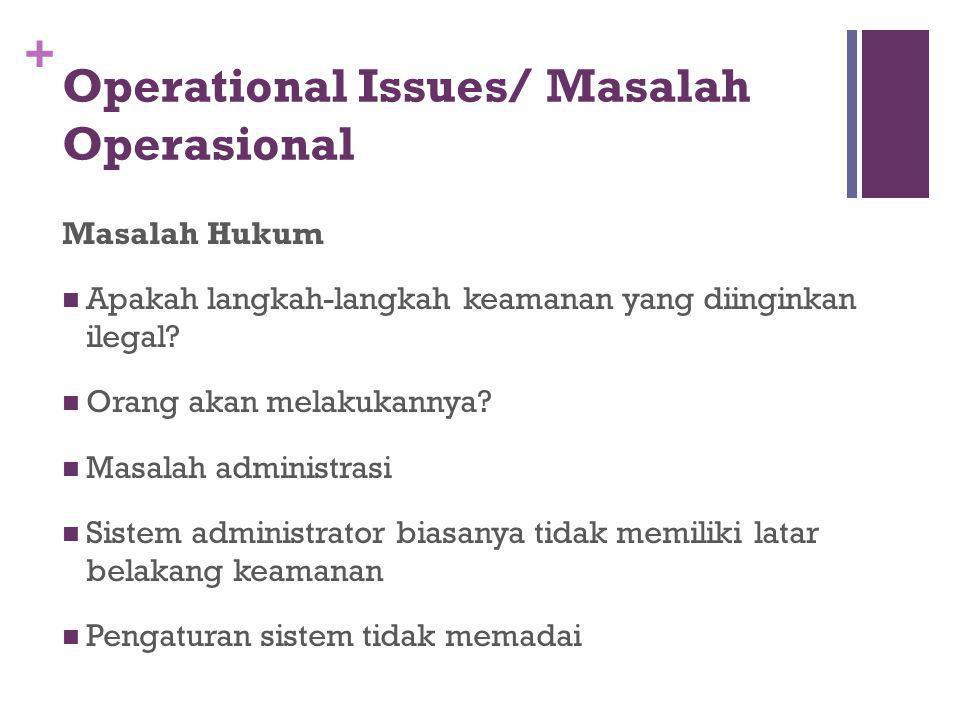 + Operational Issues/ Masalah Operasional Masalah Hukum Apakah langkah-langkah keamanan yang diinginkan ilegal? Orang akan melakukannya? Masalah admin