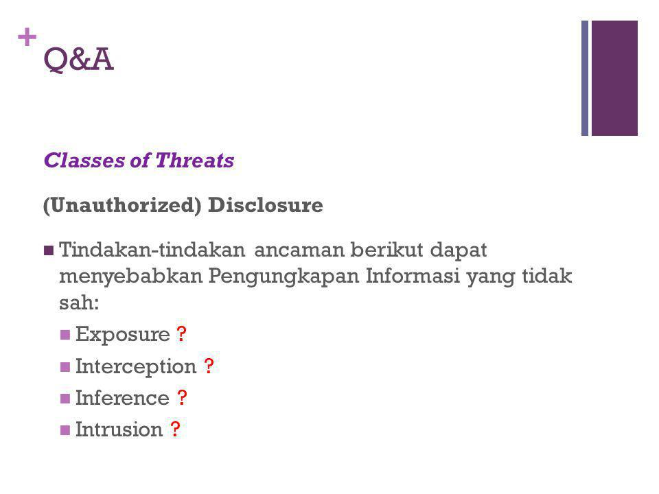 + Q&A Classes of Threats (Unauthorized) Disclosure Tindakan-tindakan ancaman berikut dapat menyebabkan Pengungkapan Informasi yang tidak sah: Exposure