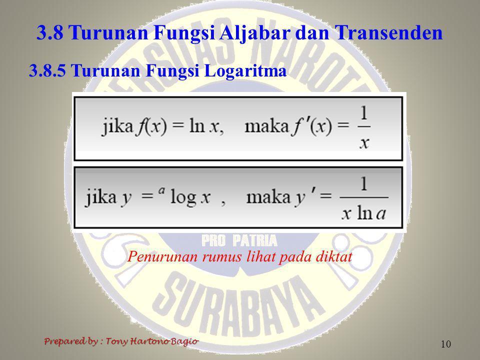 3.8 Turunan Fungsi Aljabar dan Transenden Prepared by : Tony Hartono Bagio 10 3.8.5 Turunan Fungsi Logaritma Penurunan rumus lihat pada diktat