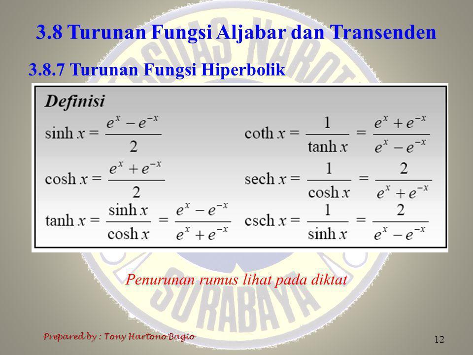 3.8 Turunan Fungsi Aljabar dan Transenden Prepared by : Tony Hartono Bagio 12 3.8.7 Turunan Fungsi Hiperbolik Penurunan rumus lihat pada diktat