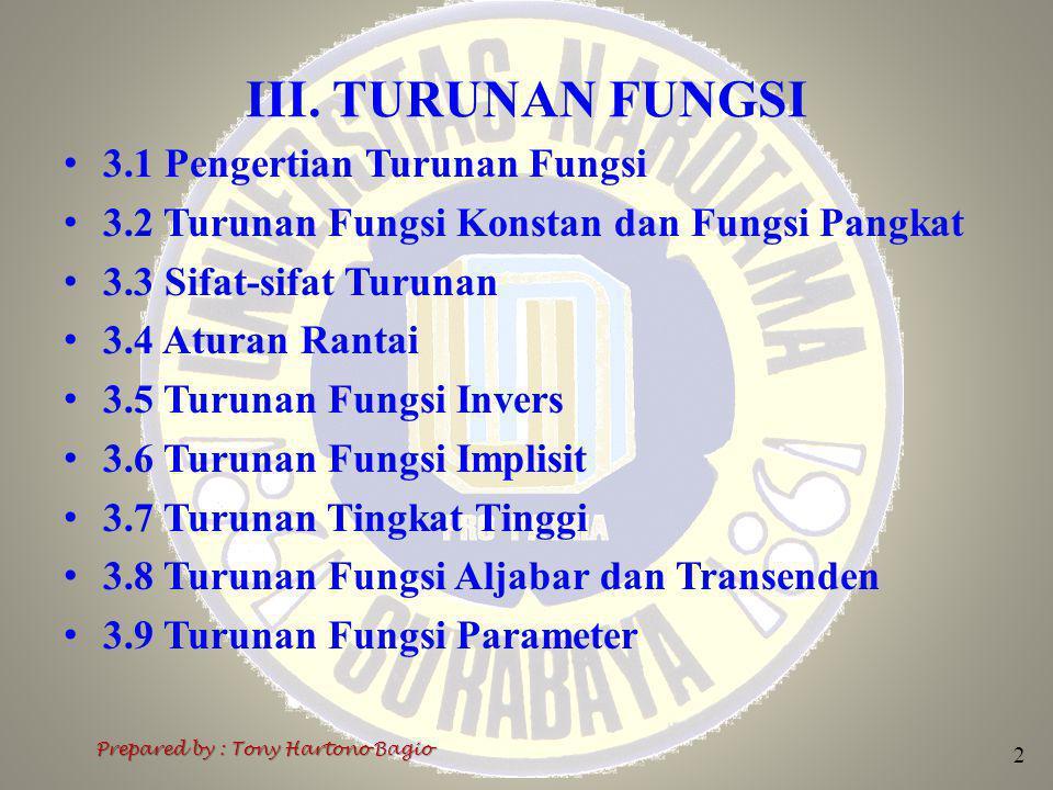 3.8 Turunan Fungsi Aljabar dan Transenden 3 Prepared by : Tony Hartono Bagio