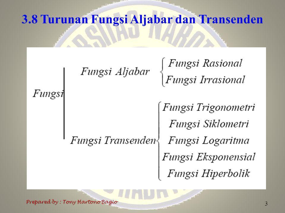 3.8 Turunan Fungsi Aljabar dan Transenden 4 Prepared by : Tony Hartono Bagio 3.8.1 Turunan Fungsi Rasional Contoh-contoh tentang turunan yang diuraikan sebelumnya (contoh 3) adalah contoh-contoh turunan fungsi rasional.