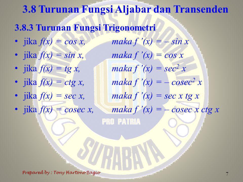 3.8 Turunan Fungsi Aljabar dan Transenden 8 Prepared by : Tony Hartono Bagio 3.8.4 Turunan Fungsi Siklometri Fungsi siklometri adalah invers fungsi trigonometri.