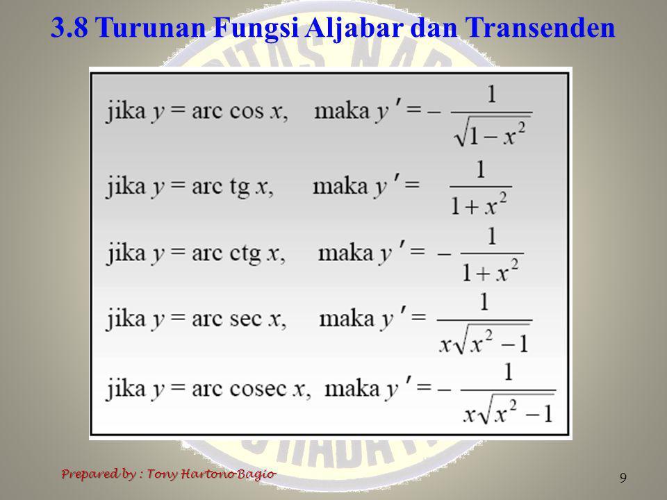 3.8 Turunan Fungsi Aljabar dan Transenden Prepared by : Tony Hartono Bagio 9