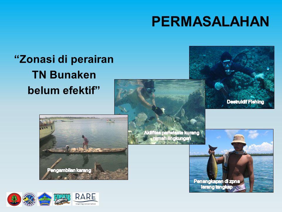 PERMASALAHAN Zonasi di perairan TN Bunaken belum efektif