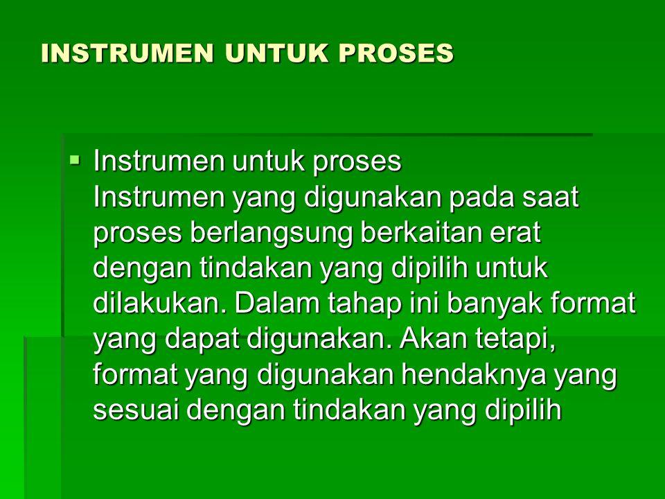 INSTRUMEN UNTUK PROSES  Instrumen untuk proses Instrumen yang digunakan pada saat proses berlangsung berkaitan erat dengan tindakan yang dipilih untuk dilakukan.
