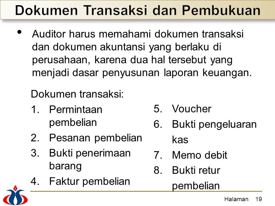 Auditor harus memahami dokumen transaksi dan dokumen akuntansi yang berlaku di perusahaan, karena dua hal tersebut yang menjadi dasar penyusunan lapor