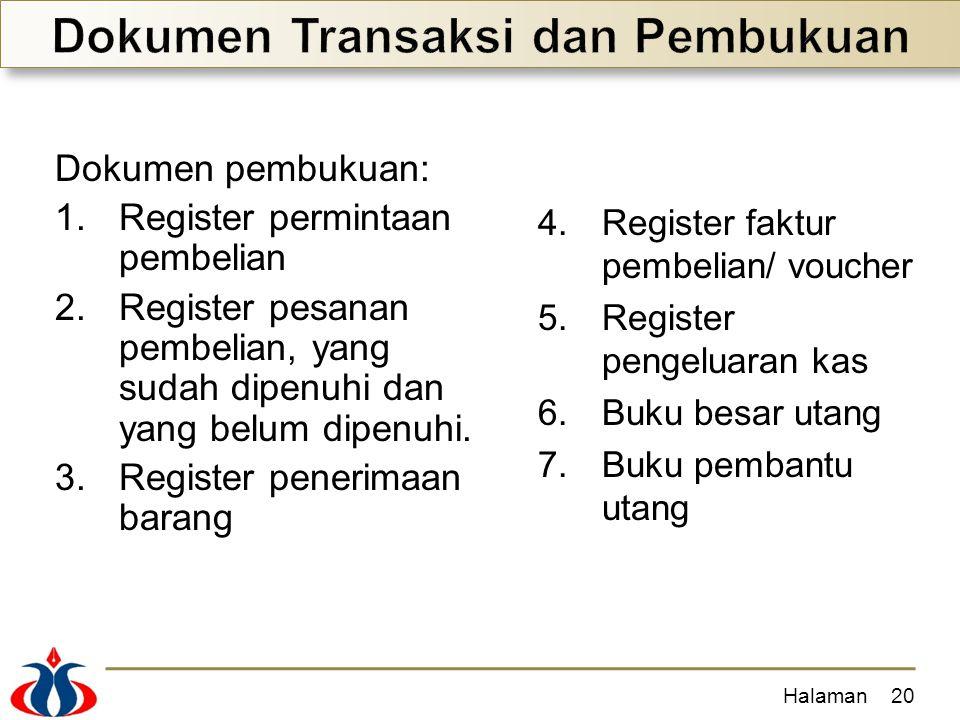 Halaman20 Dokumen pembukuan: 1.Register permintaan pembelian 2.Register pesanan pembelian, yang sudah dipenuhi dan yang belum dipenuhi. 3.Register pen
