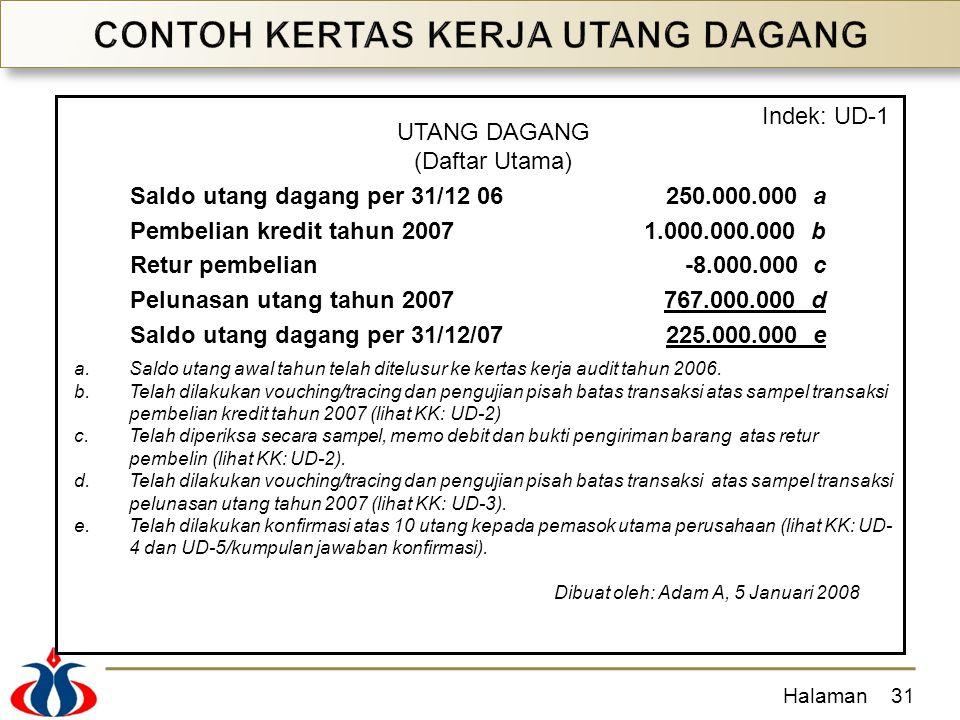Halaman31 Saldo utang dagang per 31/12 06250.000.000 a Pembelian kredit tahun 20071.000.000.000 b Retur pembelian-8.000.000 c Pelunasan utang tahun 20