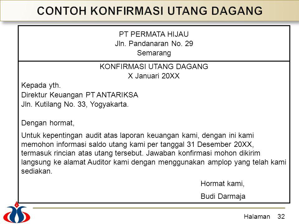 Halaman32 PT PERMATA HIJAU Jln. Pandanaran No. 29 Semarang KONFIRMASI UTANG DAGANG X Januari 20XX Kepada yth. Direktur Keuangan PT ANTARIKSA Jln. Kuti