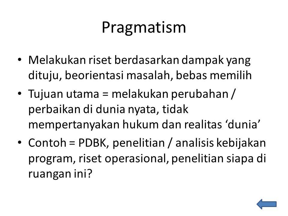 Pragmatism Melakukan riset berdasarkan dampak yang dituju, beorientasi masalah, bebas memilih Tujuan utama = melakukan perubahan / perbaikan di dunia nyata, tidak mempertanyakan hukum dan realitas 'dunia' Contoh = PDBK, penelitian / analisis kebijakan program, riset operasional, penelitian siapa di ruangan ini?