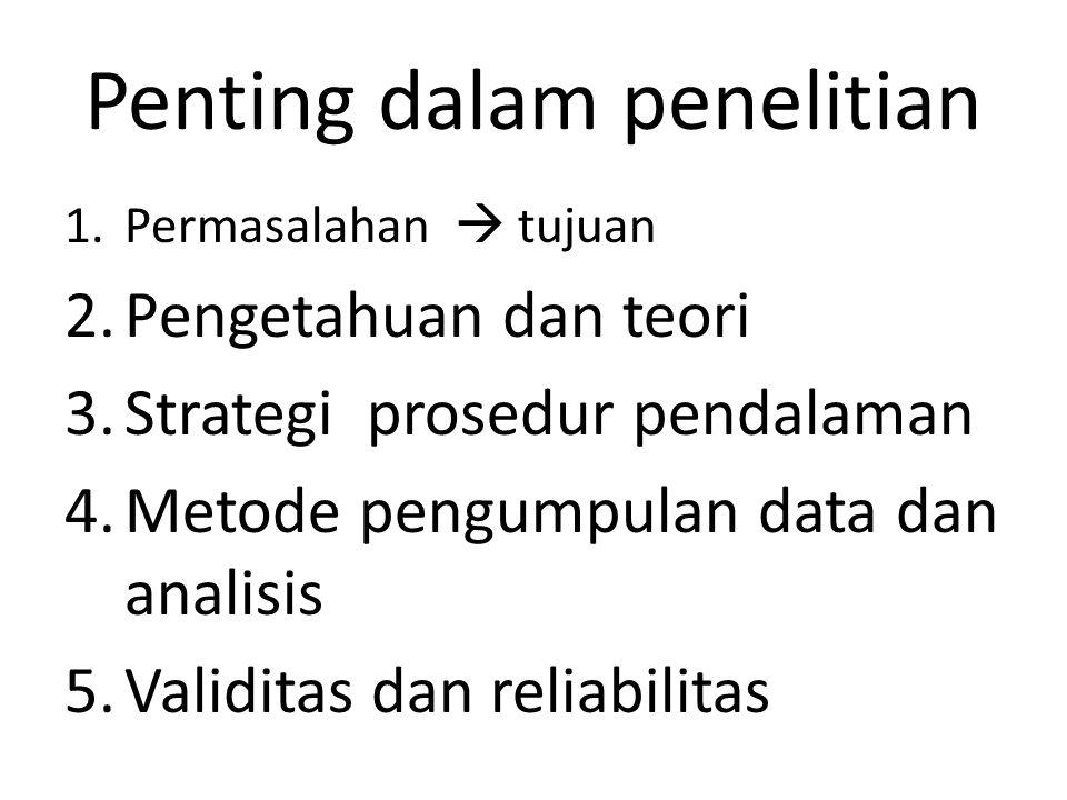 1.Permasalahan  tujuan 2.Pengetahuan dan teori 3.Strategi prosedur pendalaman 4.Metode pengumpulan data dan analisis 5.Validitas dan reliabilitas Penting dalam penelitian