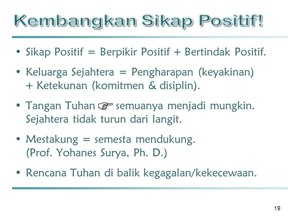 19 Sikap Positif = Berpikir Positif + Bertindak Positif.
