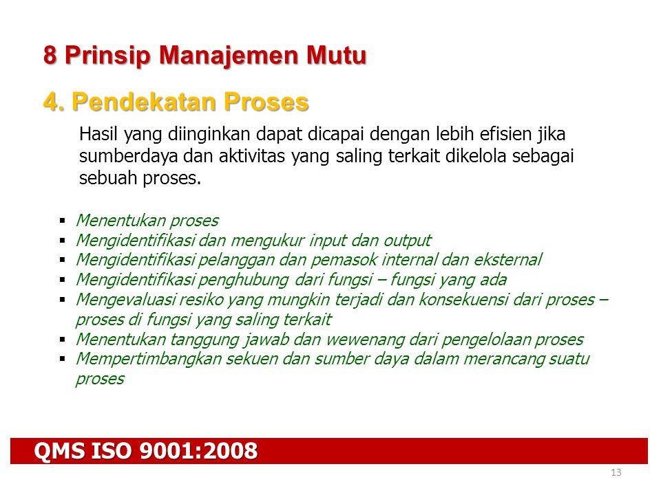 QMS ISO 9001:2008 13 8 Prinsip Manajemen Mutu 4. Pendekatan Proses Hasil yang diinginkan dapat dicapai dengan lebih efisien jika sumberdaya dan aktivi