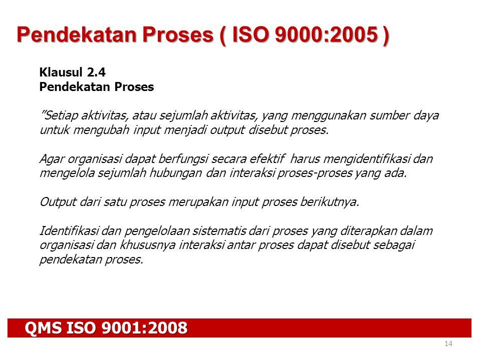 """QMS ISO 9001:2008 14 Klausul 2.4 Pendekatan Proses """"Setiap aktivitas, atau sejumlah aktivitas, yang menggunakan sumber daya untuk mengubah input menja"""