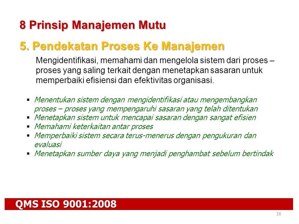 QMS ISO 9001:2008 16 8 Prinsip Manajemen Mutu 5. Pendekatan Proses Ke Manajemen Mengidentifikasi, memahami dan mengelola sistem dari proses – proses y