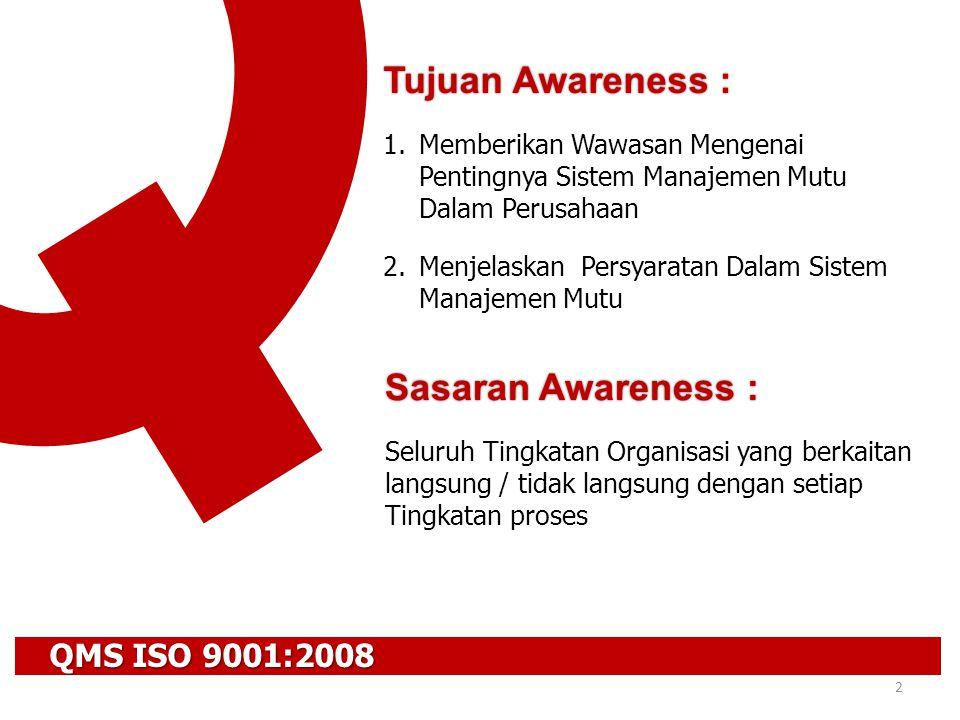 QMS ISO 9001:2008 3 1.PENDAHULUAN  Evolusi ISO 9000 Series  Konsep Mutu 2.