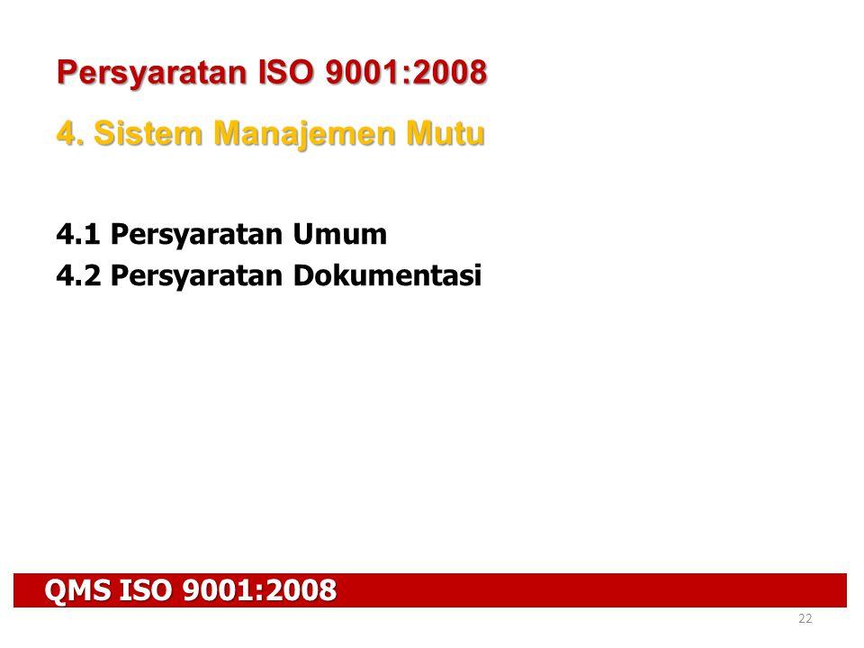 QMS ISO 9001:2008 22 Persyaratan ISO 9001:2008 4. Sistem Manajemen Mutu 4.1 Persyaratan Umum 4.2 Persyaratan Dokumentasi