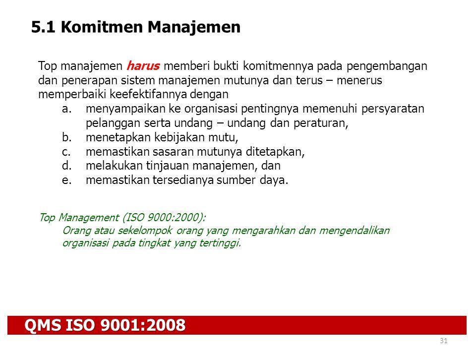 QMS ISO 9001:2008 31 5.1 Komitmen Manajemen Top manajemen harus memberi bukti komitmennya pada pengembangan dan penerapan sistem manajemen mutunya dan