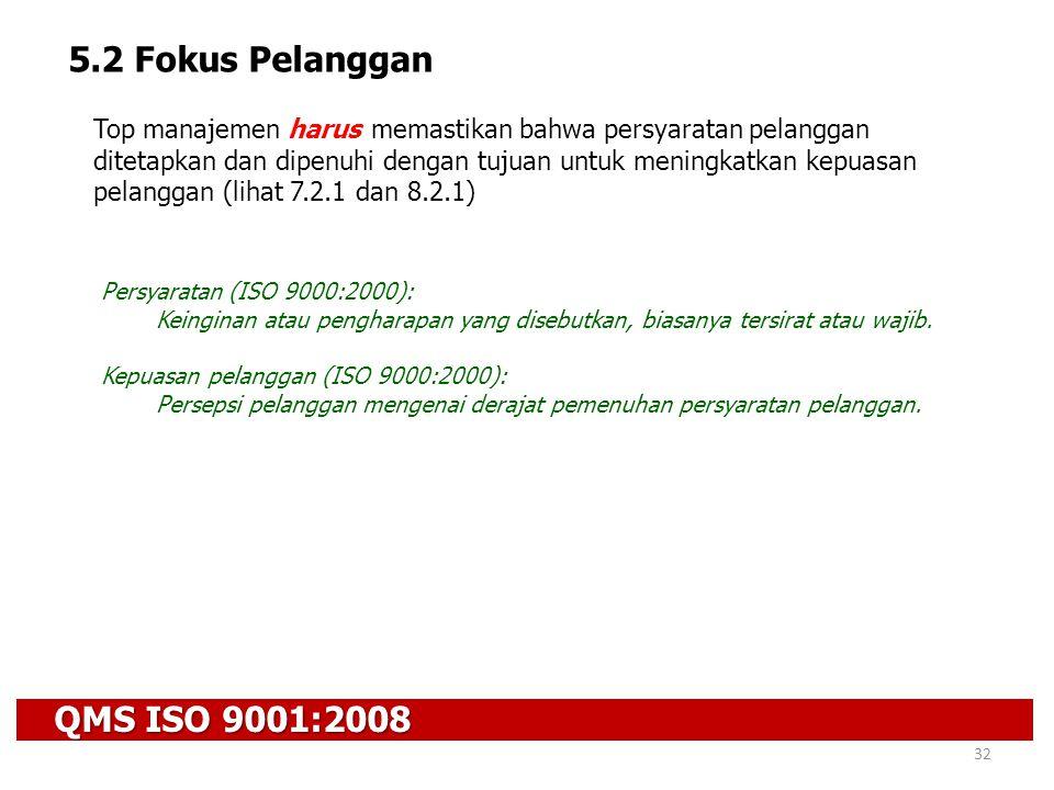 QMS ISO 9001:2008 32 5.2 Fokus Pelanggan Top manajemen harus memastikan bahwa persyaratan pelanggan ditetapkan dan dipenuhi dengan tujuan untuk mening