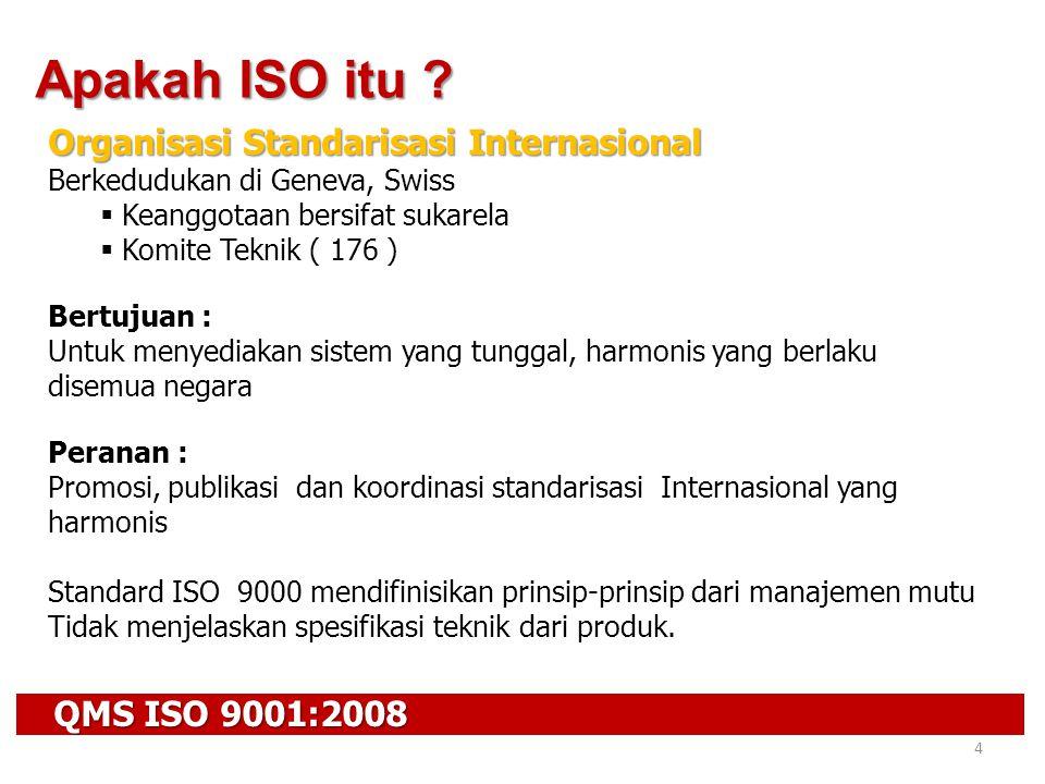 QMS ISO 9001:2008 4 Apakah ISO itu ? Organisasi Standarisasi Internasional Berkedudukan di Geneva, Swiss  Keanggotaan bersifat sukarela  Komite Tekn