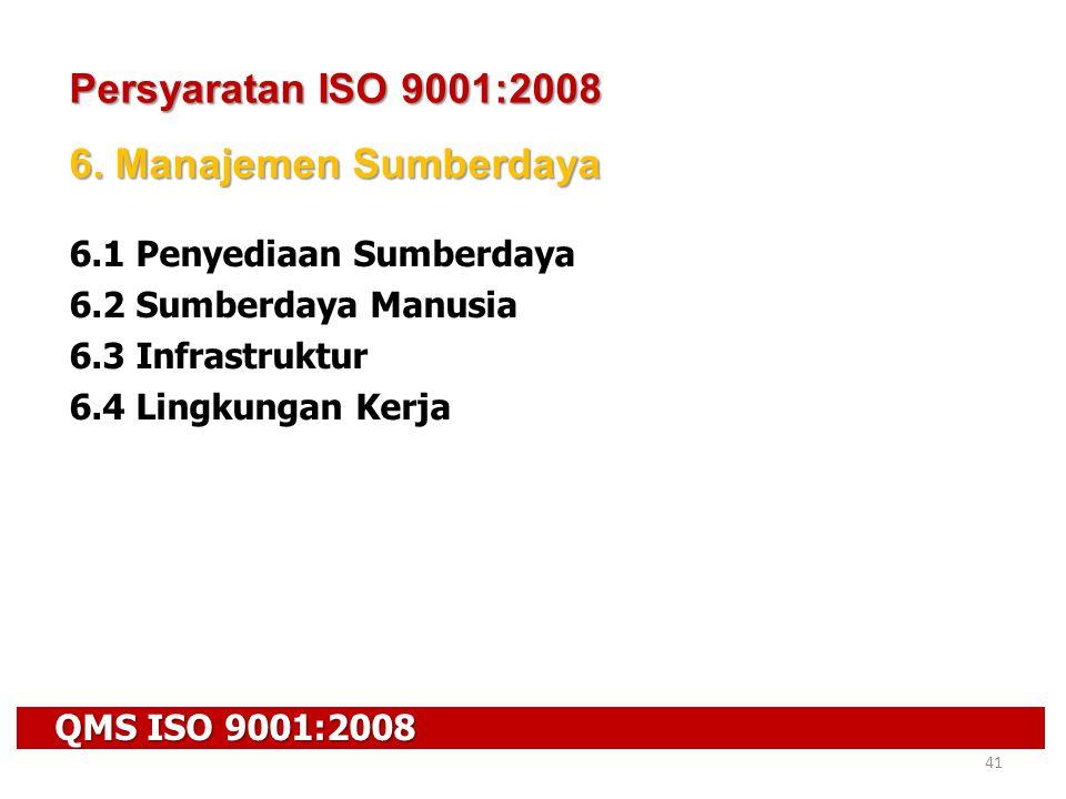 QMS ISO 9001:2008 41 Persyaratan ISO 9001:2008 6. Manajemen Sumberdaya 6.1 Penyediaan Sumberdaya 6.2 Sumberdaya Manusia 6.3 Infrastruktur 6.4 Lingkung