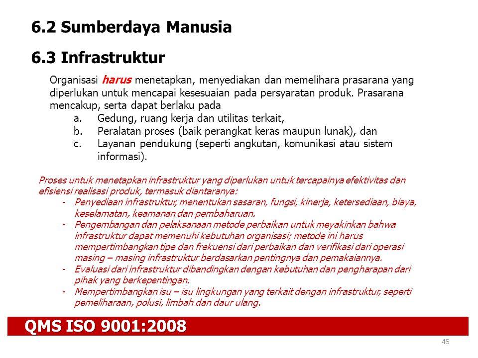QMS ISO 9001:2008 45 6.2 Sumberdaya Manusia 6.3 Infrastruktur Organisasi harus menetapkan, menyediakan dan memelihara prasarana yang diperlukan untuk