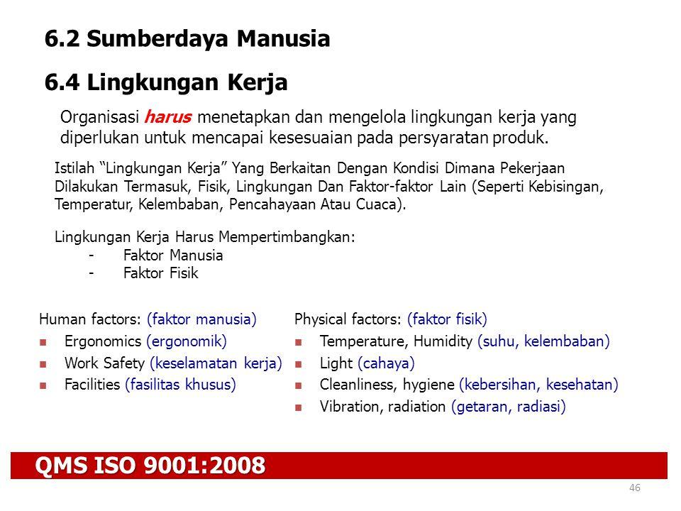 QMS ISO 9001:2008 46 6.2 Sumberdaya Manusia 6.4 Lingkungan Kerja Organisasi harus menetapkan dan mengelola lingkungan kerja yang diperlukan untuk menc