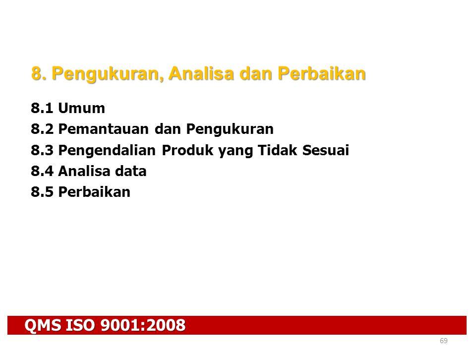 QMS ISO 9001:2008 69 8. Pengukuran, Analisa dan Perbaikan 8.1 Umum 8.2 Pemantauan dan Pengukuran 8.3 Pengendalian Produk yang Tidak Sesuai 8.4 Analisa