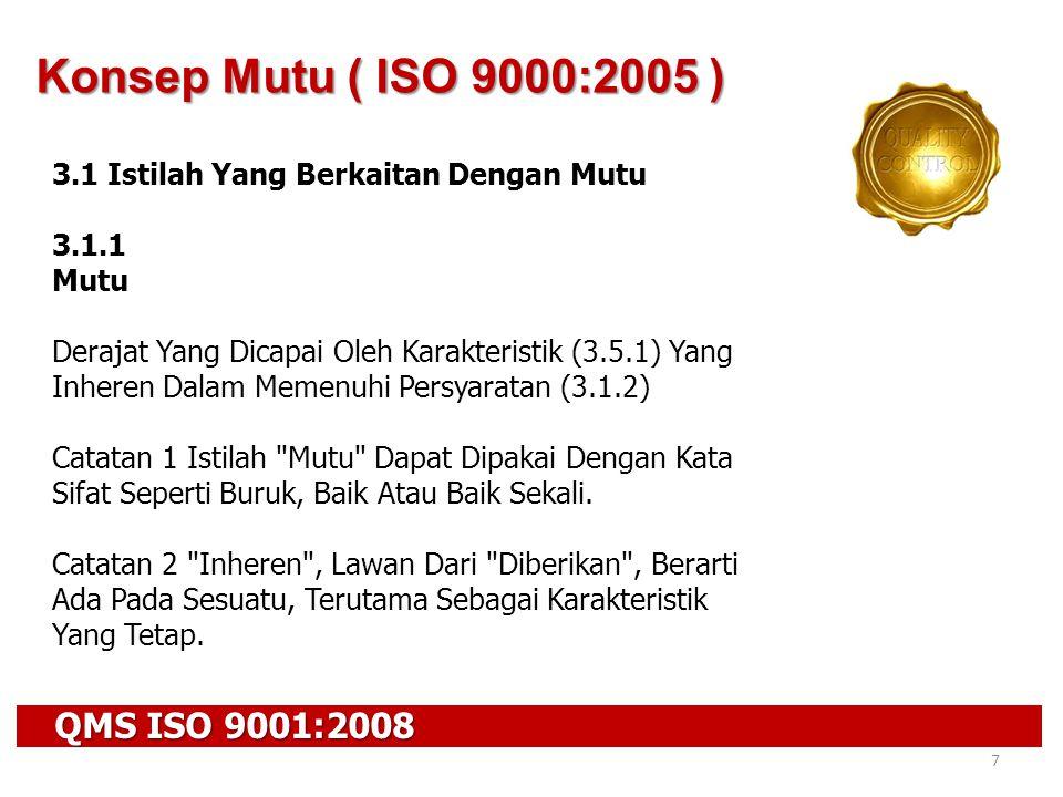 QMS ISO 9001:2008 7 Konsep Mutu ( ISO 9000:2005 ) 3.1 Istilah Yang Berkaitan Dengan Mutu 3.1.1 Mutu Derajat Yang Dicapai Oleh Karakteristik (3.5.1) Ya